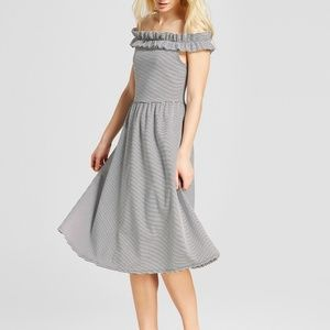 Who What Wear Ruffle Bardot Midi Dress